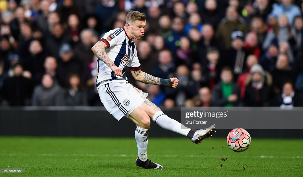 James McClean of West Bromwich Albion in action during The Emirates FA Cup Fourth Round match between West Bromwich Albion and Peterborough United at The Hawthorns on January 30, 2016 in West Bromwich, England.