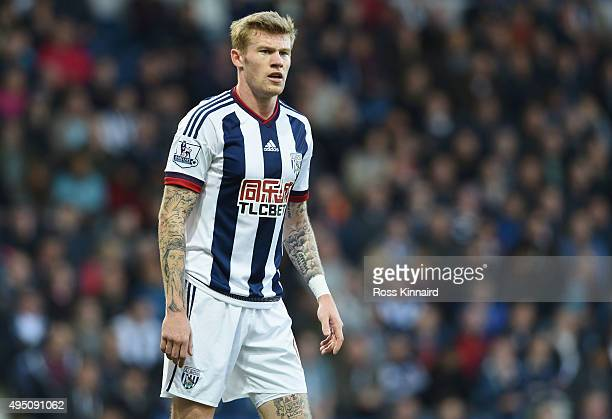 James McClean of West Bromwich Albion is seen without a poppy on his shirt during the Barclays Premier League match between West Bromwich Albion and...