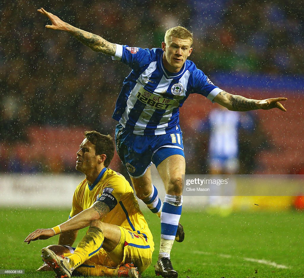 <a gi-track='captionPersonalityLinkClicked' href=/galleries/search?phrase=James+McClean&family=editorial&specificpeople=3699424 ng-click='$event.stopPropagation()'>James McClean</a> of Wigan Athletic celebrates his goal during the Budweiser FA Cup fourth round match between Wigan Athletic and Crystal Palace at DW Stadium on January 25, 2014 in Wigan, England.
