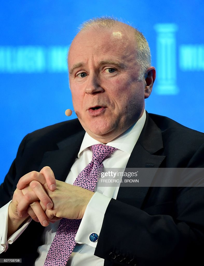 James McCormack, Managing Director and Global head of Sovereign and Supranational Ratings, Fitch, speaks on the panel 'Monetary Policy: Out of Ammunition?' at the 2016 Milken Institute Global Conference in Beverly Hills, California on May 3, 2016. / AFP / FREDERIC