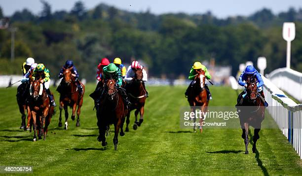 James McDonald rides Rouleau to win The Commercial Property Law By Darbys Solicitors Nursery Handicap Stakes at Ascot racecourse on July 10 2015 in...