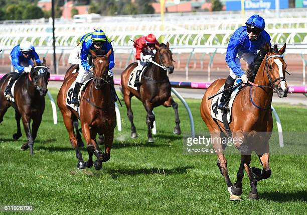 James McDonald riding Hartnell wins Race 7 Yellowglen Turnball Stakes during Melbourne Racing at Flemington Racecourse on October 2 2016 in Melbourne...