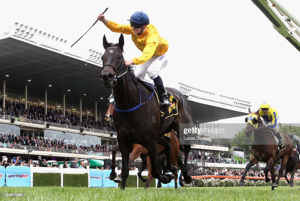 James McDonald riding Silent Achiever wins Scweppes Crystal Mile race during Cox Plate Day at Moonee Valley Racecourse on October 27, 2012 in Melbourne, Australia.