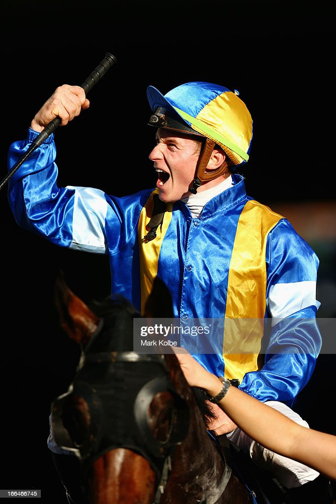 James McDonald who rode 'It's A Dundell' to win race 7 the David Jones Australian Derby celebrates on Australian Derby Day at Royal Randwick Racecourse on April 13, 2013 in Sydney, Australia.