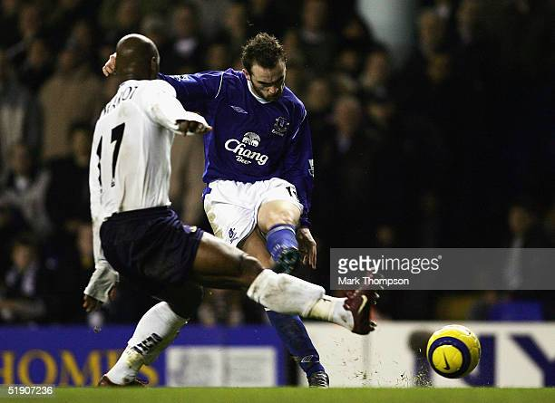James McFadden scores for Everton during the FA Barclays Premiership match between Tottenham Hotspur and Everton at White Hart Lane on January 01...