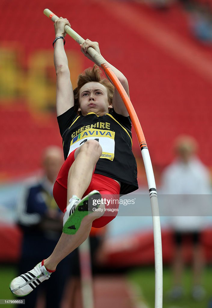 James McMahon of Cheshire competes in the Junior Boys Pole Vault during day one of the Aviva English Schools Track and Field Championships at the Gateshead International Stadium on July 6, 2012 in Gateshead, England. Search Aviva Athletics on Facebook to Back The Team.