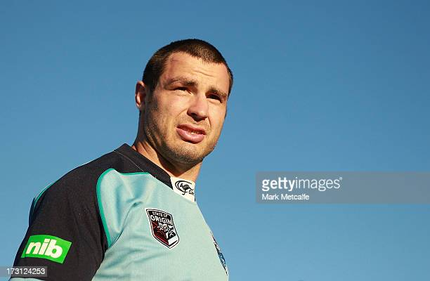James McManus arrives for a New South Wales Blues State of Origin training session at Coogee Oval on July 8 2013 in Sydney Australia