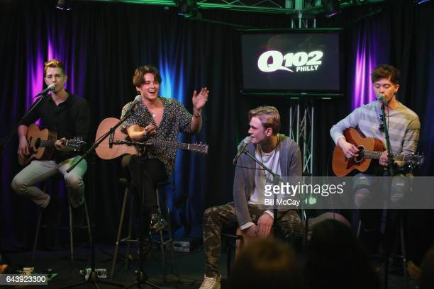 James McVey Brad Simpsonl Tristan Evans and Connor Ball of The Vamps perform at Q102 Performance Theater February 22 2017 in Bala Cynwyd Pennsylvania