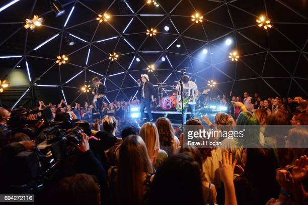 James McVey Bradley Simpson Tristan Evans and Connor Ball of The Vamps at MTV Live Stage at ExCel on June 9 2017 in London England MTV Live Stage is...