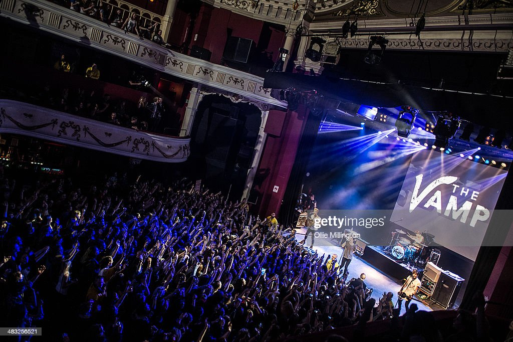 James McVey, Bradley Will 'Brad' Simpson, Tristan Evans and Connor Ball of The Vamps perform on stage during the 'The Last Night' single launch party, the band's first UK headline show, at at Shepherds Bush Empire on April 7, 2014 in London, United Kingdom.