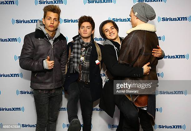 James McVey Connor Ball Brad Simpson and Tristan Evans of the Vamps visit the SiriusXM Studios on November 19 2014 in New York City
