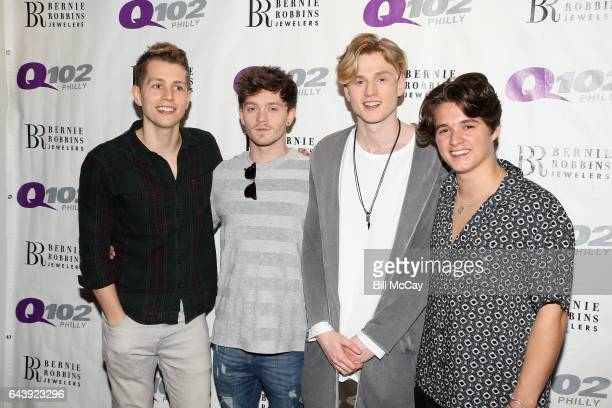 James McVey Connor Ball Tristan Evans and Brad Simpson of The Vamps pose at Q102 Performance Theater February 22 2017 in Bala Cynwyd Pennsylvania