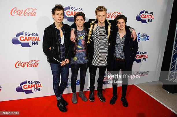 James McVey Connor Ball Tristan Evans and Bradley Simpson from the Vamps attends the Jingle Bell Ball at The O2 Arena on December 6 2015 in London...