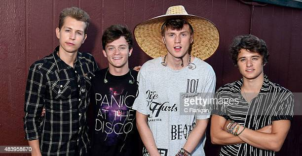 James McVey Connor Ball Tristan Evans and Bradley Simpson of The Vamps pose backstage during the 997 NOW Summer Splash at California's Great America...