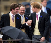 James Meade and Prince Harry attend the wedding of Lady Melissa Percy and Thomas Van Straubenzee at St Michael's Church on June 22 2013 in Alnwick...