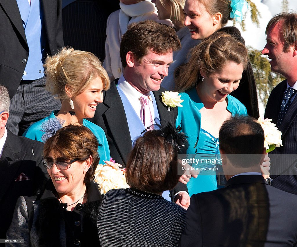 James Meade escorts the bridesmaids as he attends the wedding of Laura Bechtolsheimer and Mark Tomlinson at the Protestant Church on March 2, 2013 in Arosa, Switzerland.