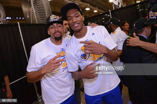 James Michael McAdoo and Damian Jones of the Golden State Warriors pose for a photo after winning Game Four of the Western Conference Finals against...