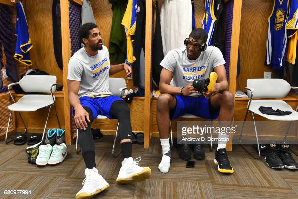 James Michael McAdoo and Kevon Looney of the Golden State Warriors get ready before Game Three of the Western Conference Semifinals against the Utah...