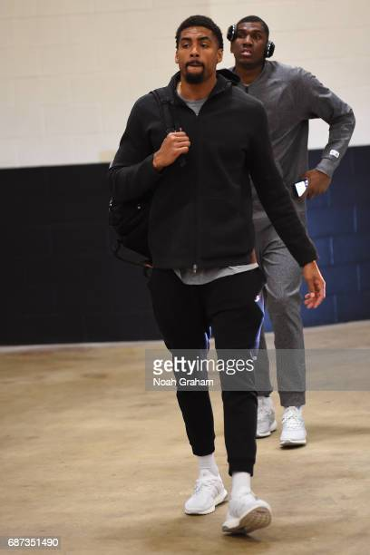 James Michael McAdoo of the Golden State Warriors arrives at the arena before Game Four of the Western Conference Finals against the San Antonio...