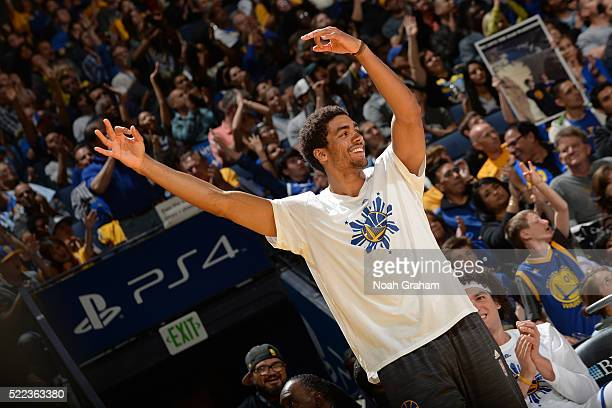 James Michael McAdoo of the Golden State Warriors cheers during the game against the Dallas Mavericks on March 25 2016 at Oracle Arena in Oakland...