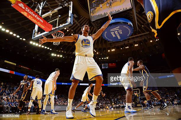 James Michael McAdoo of the Golden State Warriors defends an inbounds pass during the game against the Indiana Pacers on December 5 2016 at ORACLE...