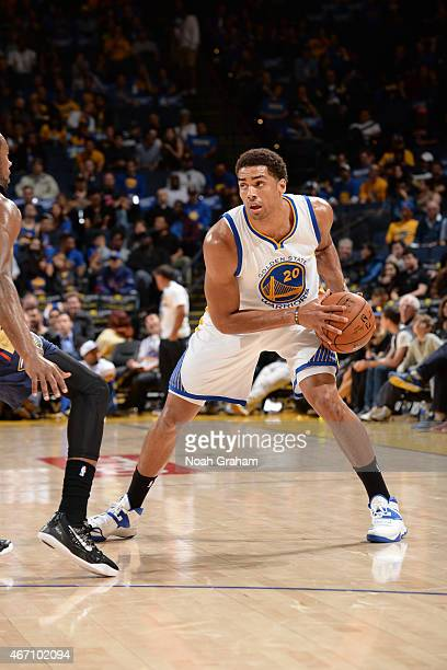 James Michael McAdoo of the Golden State Warriors defends the ball against the New Orleans Pelicans during the game on March 20 2015 at ORACLE Arena...
