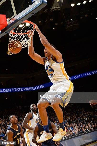 James Michael McAdoo of the Golden State Warriors dunks against the New Orleans Pelicans on March 14 2016 at ORACLE Arena in Oakland California NOTE...