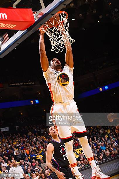 James Michael McAdoo of the Golden State Warriors dunks against the LA Clippers during the game on January 28 2017 at ORACLE Arena in Oakland...