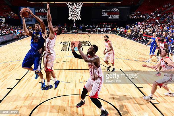 James Michael McAdoo of the Golden State Warriors goes for the layup against the Cleveland Cavaliers during NBA Summer League on July 10 2012 at the...