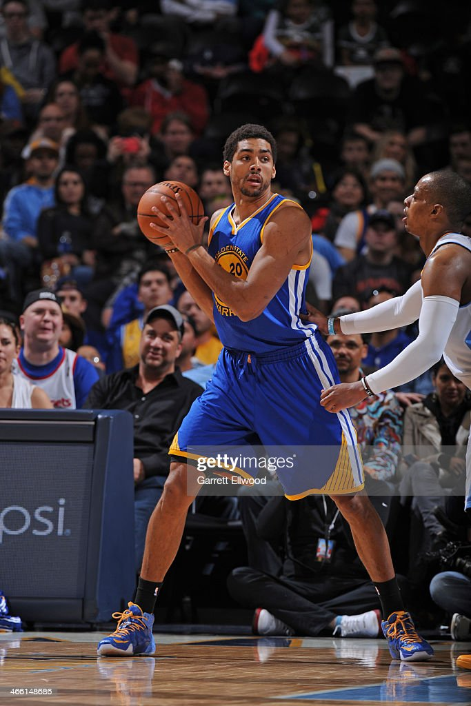 James Michael McAdoo #20 of the Golden State Warriors handles the ball against the Denver Nuggets on March 13, 2015 at the Pepsi Center in Denver, Colorado.