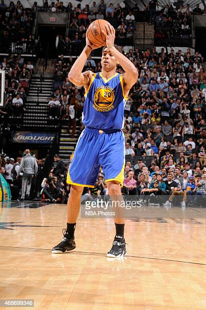 James Michael McAdoo of the Golden State Warriors handles the ball against the San Antonio Spurs on April 5 2015 at the ATT Center in San Antonio...