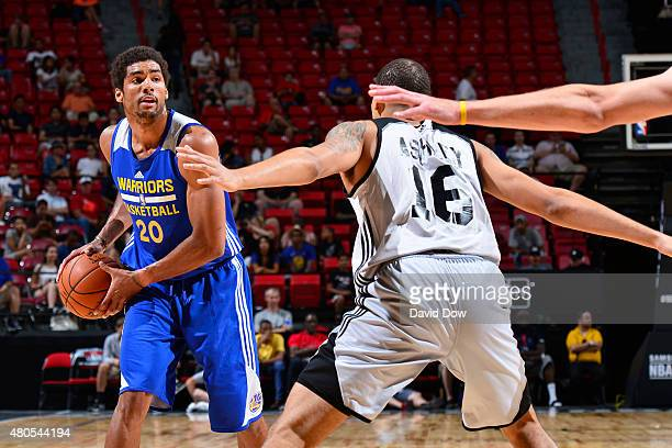 James Michael McAdoo of the Golden State Warriors handles the ball against the Atlanta Hawks on July 12 2015 at the Cox Pavilion in Las Vegas Nevada...