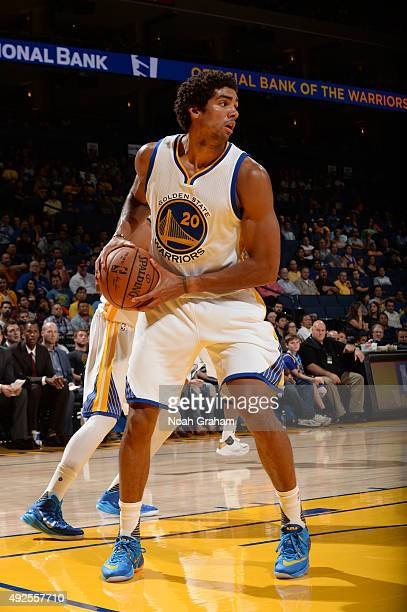 James Michael McAdoo of the Golden State Warriors handles the ball against the Denver Nuggets during a preseason game on October 13 2015 at ORACLE...