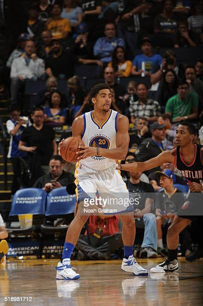 James Michael McAdoo of the Golden State Warriors handles the ball against the Portland Trail Blazers on April 3 2016 at Oracle Arena in Oakland...