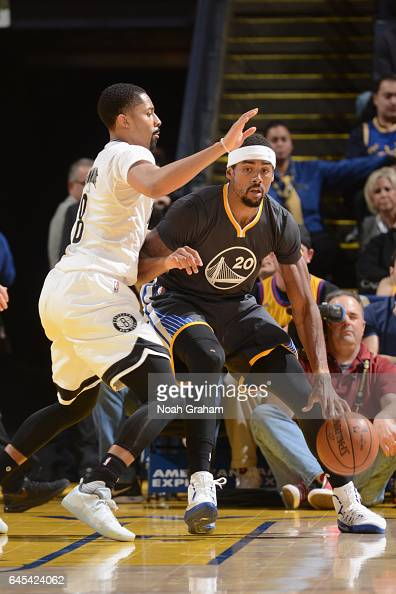 James Michael McAdoo of the Golden State Warriors handles the ball against the Brooklyn Nets on February 25 2017 at ORACLE Arena in Oakland...