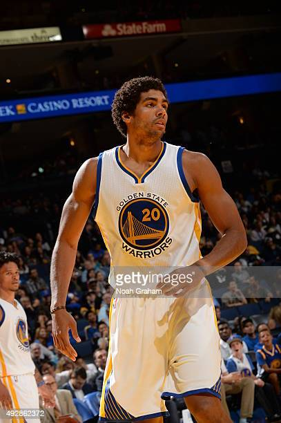 James Michael McAdoo of the Golden State Warriors looks on during the game against the Houston Rockets on October 15 2015 at Oracle Arena in Oakland...