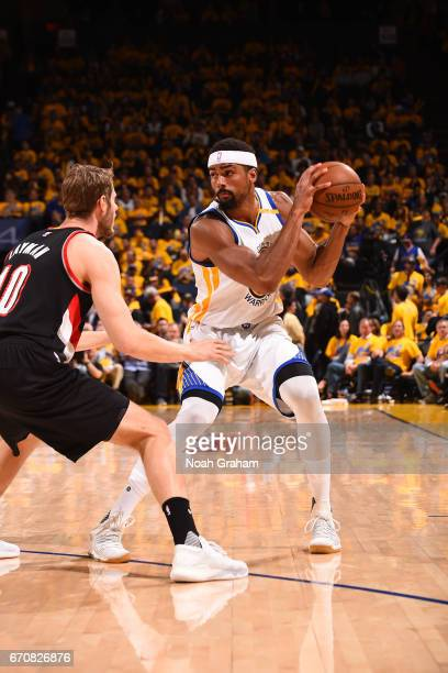 James Michael McAdoo of the Golden State Warriors looks to make a move against the Portland Trail Blazers during Game Two of the Western Conference...