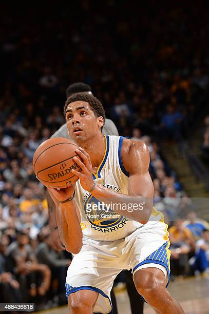 James Michael McAdoo of the Golden State Warriors shoots a free throw against the Phoenix Suns on April 2 2015 at Oracle Arena in Oakland California...