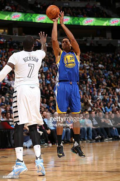 James Michael McAdoo of the Golden State Warriors takes a shot against JJ Hickson of the Denver Nuggets at Pepsi Center on November 22 2015 in Denver...