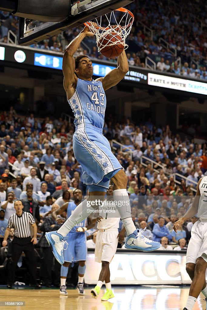 James Michael McAdoo #43 of the North Carolina Tar Heels dunks in the second half against the Miami (Fl) Hurricanes during the final of the Men's ACC Basketball Tournament at Greensboro Coliseum on March 17, 2013 in Greensboro, North Carolina.