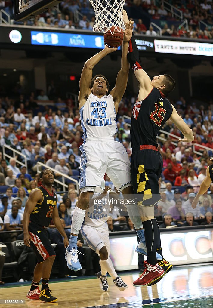 James Michael McAdoo #43 of the North Carolina Tar Heels goes up for a shot against Alex Len #25 of the Maryland Terrapins in the second half during the men's ACC Tournament semifinals at Greensboro Coliseum on March 16, 2013 in Greensboro, North Carolina.
