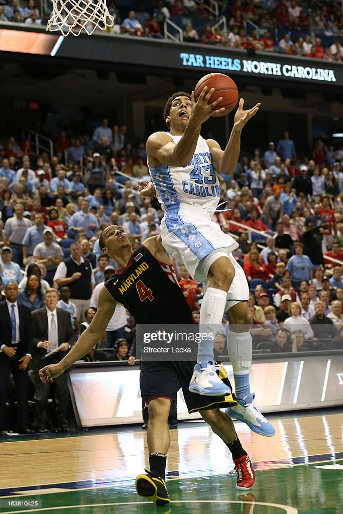 James Michael McAdoo #43 of the North Carolina Tar Heels goes up for a shot against Seth Allen #4 of the Maryland Terrapins in the second half during the men's ACC Tournament semifinals at Greensboro Coliseum on March 16, 2013 in Greensboro, North Carolina.