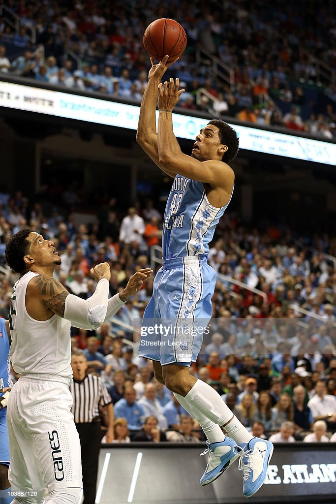 James Michael McAdoo #43 of the North Carolina Tar Heels goes up for a shot attempt against Julian Gamble #45 of the Miami (Fl) Hurricanes during the final of the Men's ACC Basketball Tournament at Greensboro Coliseum on March 17, 2013 in Greensboro, North Carolina.