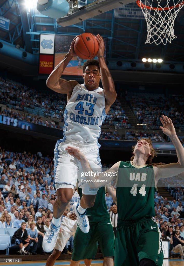 James Michael McAdoo #43 of the North Carolina Tar Heels grabs a rebound from Jordan Swing #44 of the Alabama Birmingham Blazers on December 01, 2012 at the Dean E. Smith Center in Chapel Hill, North Carolina. North Carolina won 102-84.