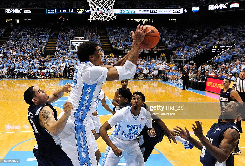 James Michael McAdoo #43 of the North Carolina Tar Heels grabs a rebound against the East Tennessee State Buccaneers during play at Dean Smith Center on December 8, 2012 in Chapel Hill, North Carolina. North Carolina won 78-55.