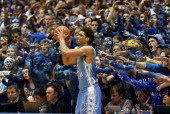 James Michael McAdoo of the North Carolina Tar Heels looks to throw the ball inbounds against the Duke Blue Devils during their game at Cameron...