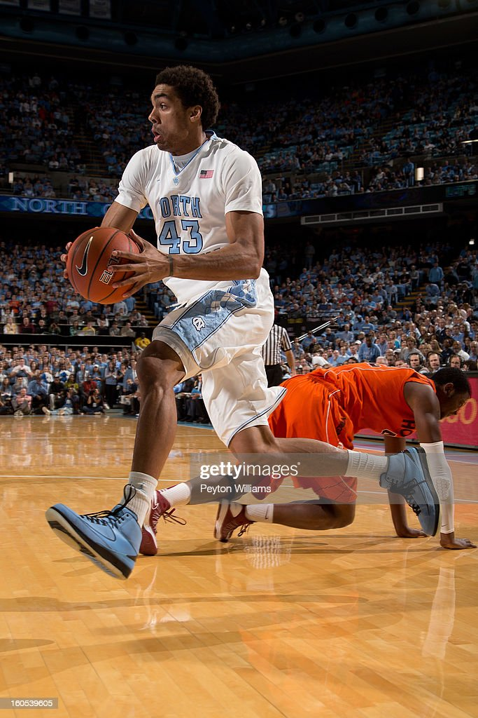 James Michael McAdoo #43 of the North Carolina Tar Heels moves the ball during the first half of a game against the Virginia Tech Hokies at the Dean E. Smith Center on February 02, 2013 in Chapel Hill, North Carolina.