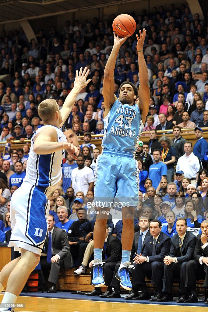 James Michael McAdoo #43 of the North Carolina Tar Heels puts up a shot against Mason Plumlee #5 of the Duke Blue Devils at Cameron Indoor Stadium on February 13, 2013 in Durham, North Carolina. Duke defeated North Carolina 73-68.