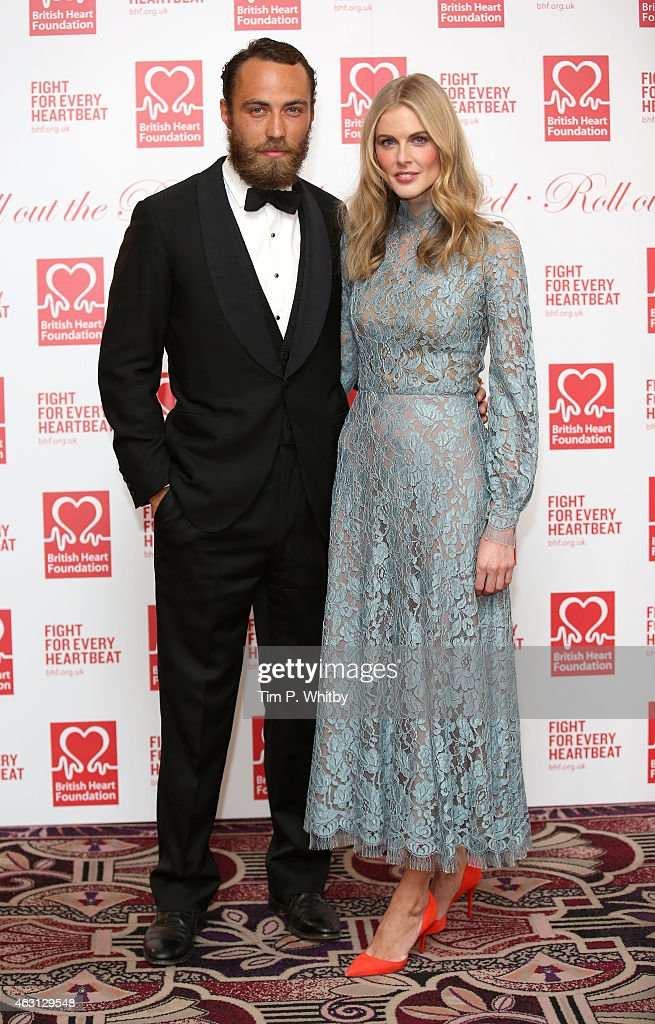 James Middleton and Donna Air attend the British Heart Foundation's Roll Out The Red Ball at Park Lane Hotel on February 10 2015 in London England