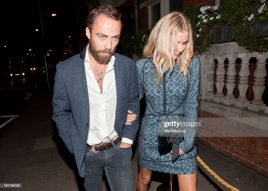 James Middleton and <a gi-track='captionPersonalityLinkClicked' href=/galleries/search?phrase=Donna+Air&family=editorial&specificpeople=209184 ng-click='$event.stopPropagation()'>Donna Air</a> sighted arriving at Ruski's Tavern, Kensington High Street on September 24, 2013 in London, England.